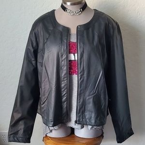 BLACK VEGAN LEATHER JACKET by RED SNAP SZ. 3X NWT